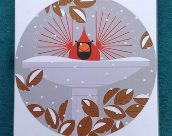 Charley Harper Cardinal Christmas Cards, Single Card