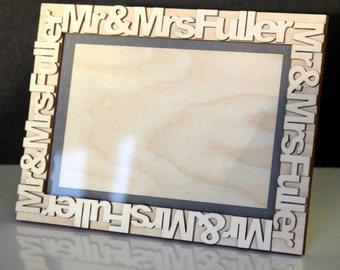 Mr & Mrs Wooden Picture Frame Personalised with any Name
