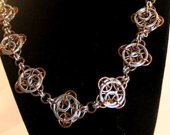 Steampunk Clockwork Chainmaille Necklace - Bronze & Aluminum - Chainmail Jewelry - Steampunk Jewelry
