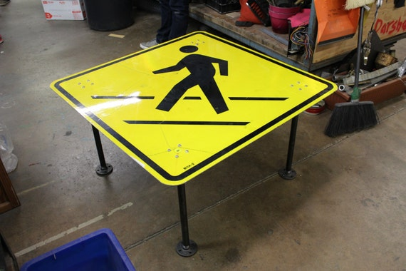 Items Similar To Pedestrian Crossing Sign Coffee Table