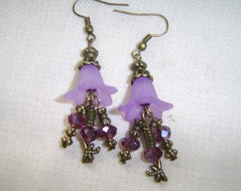 Antique Bronze And Mauve Crystal Flower Earrings