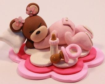 Baby Shower Cake Topper, Polymer Clay Bear, Baby Girl Pink Shower Gift, Shower Keepsake, Teddy Bear, Sleeping Baby Cake Topper,