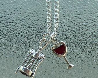 Wine glass necklace, wine jewelry, bottle opener, wine, wine glass, red wine, wine necklace, merlot, bottle opener jewelry, wine lover,