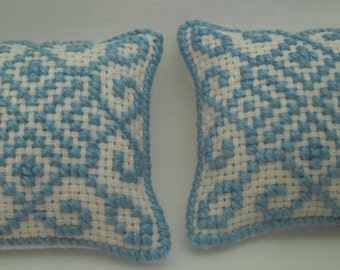 Cross Stitched Geometric Pattern 1/12th scale Dolls House Cushions