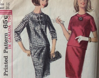 Simplicity 6075 vintage 1960's misses two piece dress, top and skirt, sewing pattern size 16 bust 36 waist 28 hip 38