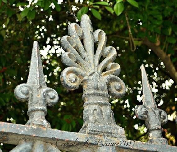 NEW ORLEANS PHOTOGRAPHY ~ Louisiana Fine Art ~ Jackson Square Fence ~ Wrought Iron Grillwork ~ Fleur de Lis ~ Square format