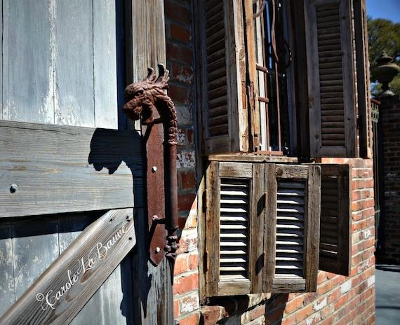 Antique DOOR HANDLE and SHUTTERS Photograph ~ Louisiana at Large Series ~ Houmas House Plantation ~ Burnside, Louisiana ~ Louisiana Fine art