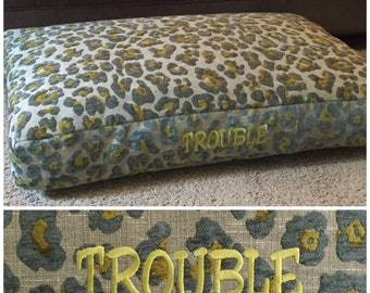 Taylor Dog Bed * Animal Print * Small Leopard Chenille * Personalized with Pups Name *Custom Design Pillow Cover * TSD