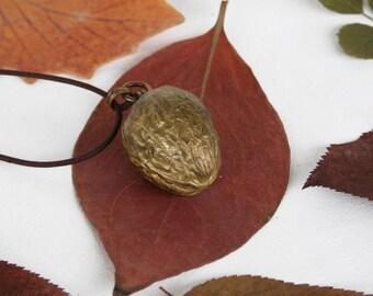 Walnut brass locket, handmade jewelry, walnut necklace, brass pendant, oxidized jewelry, vintage pendant, antiqued brass necklace..