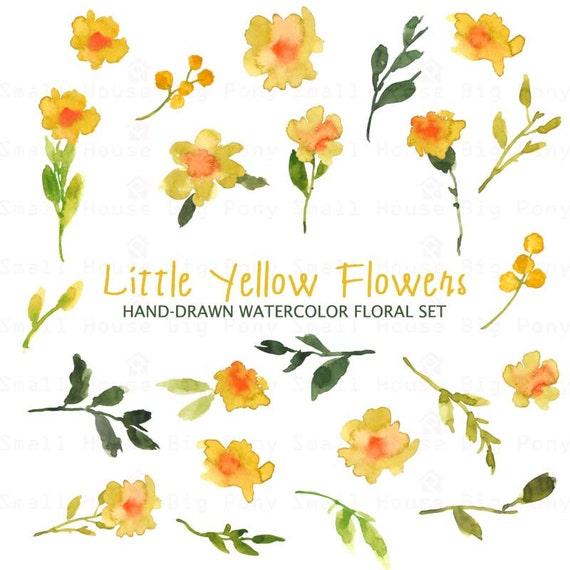 Watercolour Floral Clipart. Handmade, watercolour clipart, wedding diy elements, flowers - Little Yellow Flowers Set
