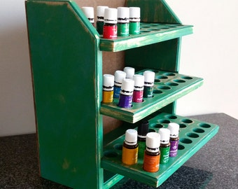 Essential oil storage shelf (holds 72 bottles) shabby chic green