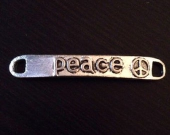 Tibetan Silver Carved Peace Charms Connector Pendants Jewelry Making 10 pieces