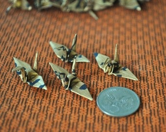 25 Tiny Origami Cranes in Gold and Black Chiyogami paper