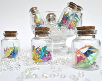 Delicate Origami Crane Bottled Rainbow - pack of 10