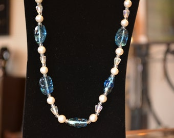 Antique blue glass bead long necklace...