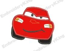SALE - Cars Lightning McQueen Applique (4x4) - Embroidery Machine Design