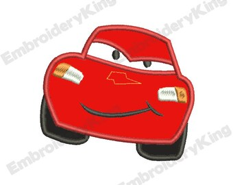 SALE - Cars Lightning McQueen Applique (4x4) - Embroidery Machine Design