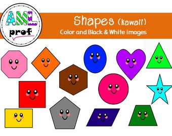 Shapes kawaii happy smiley