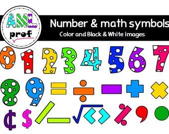 Dot numbers & Math symbols clipart