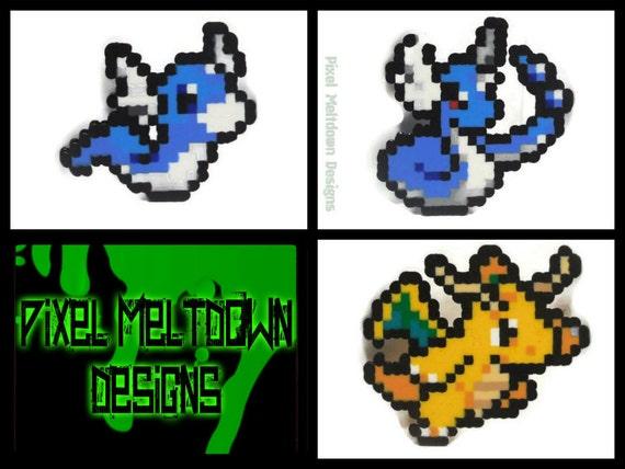 Dratini, Dragonair, Dragonite Pokemon Pixel Art