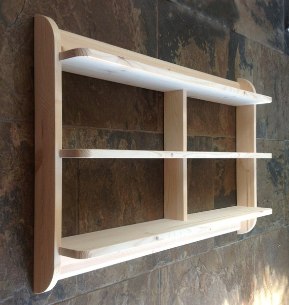 Wide Wall Mounted Open Back Shelf Unit. Kitchen Shelves Or Dvd