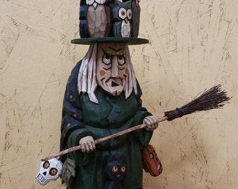 Pesky Owl Witch Primitive folk Art Halloween Wood Carving