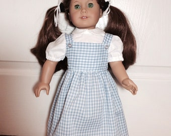 American Girl Doll Clothes Dorothy Wizard of OZ  Halloween Costume Includes White Shirt and Blue Checked Pinafore