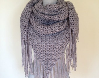 Crochet Triangle Scarf/Shawl w/ Fringe Detail