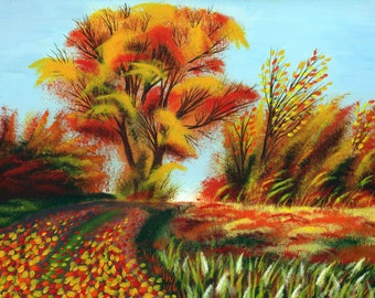 "Acrylic painting on canvas, Art, Handmade, Painting, landscape painting // Autumn 40x29,5 cm (15,7""x11,6"")"
