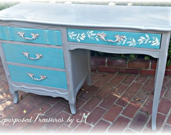 SOLD! SOLD! Vintage desk, Beachy desk, stenciled desk,  distressed desk, rustic desk, gray teal desk, shabby chic desk, girls desk