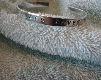 "Sea Glass Lover Cuff Bracelet aluminum engraved 1/4"" x 6"" Personalized"