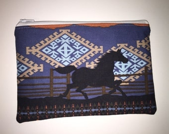 Western, Horse zippered pouch