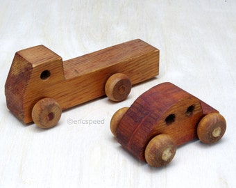 "Wooden Toy Truck & Car Vintage Montgomery Schoolhouse ""Mites"""