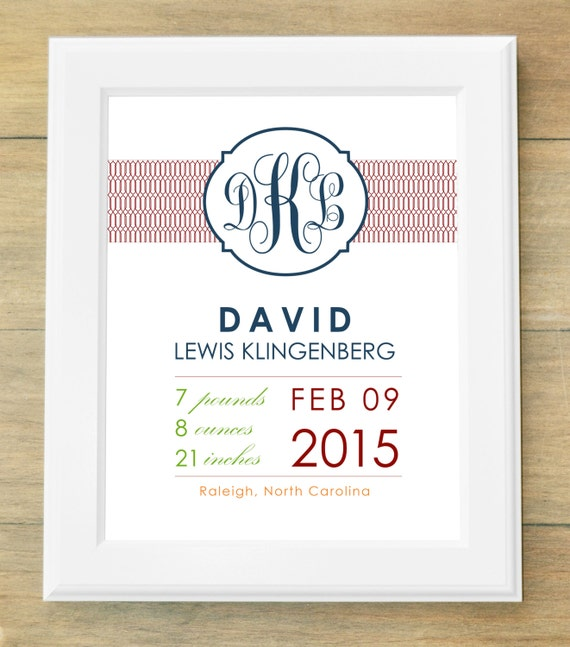 Birth Announcement Wall Art Chain