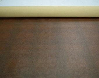 "Brown Mini Gator Vinyl Faux Upholstery Fabric 54"" Wide By The Yard 36"" Long Gator Vinyl Material"