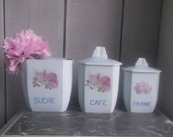 Kitchen canisters with pink rose design  French vintage canisters  Shabby chic home decor