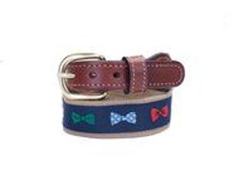 Bow Tie CottonWeb-Leather Belt with solid brass buckle