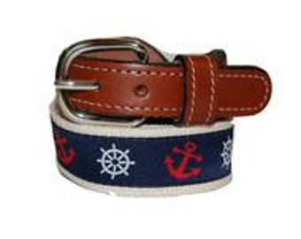 Anchor and Ships Wheel Web/Leather Belt