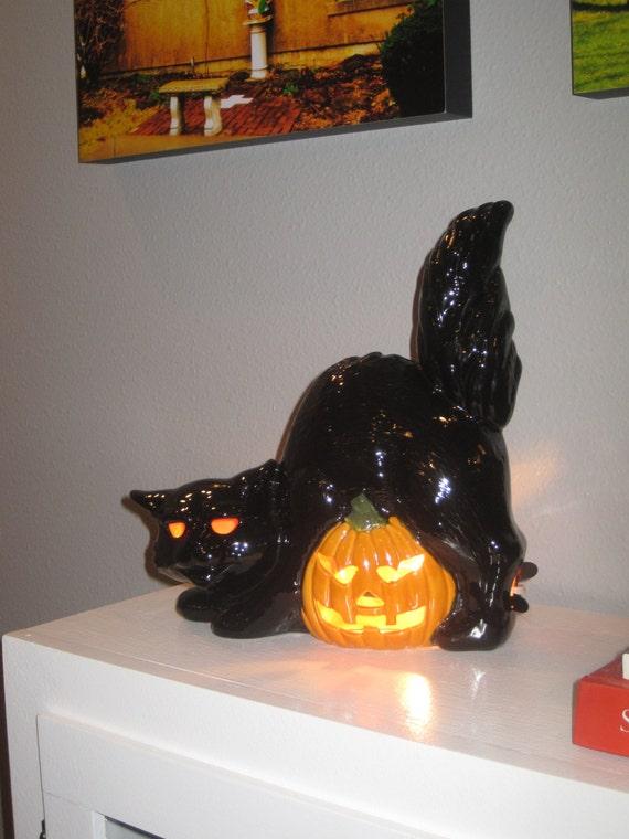 Vintage Lg Ceramic Black Cat Jack O Lantern Pumpkin Halloween