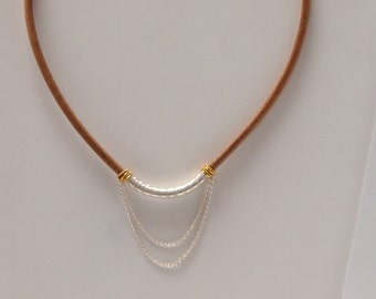 Necklace in Sterling Silver, Gold Vermeil (Gold over Sterling Silver) and Natural Leather Cord