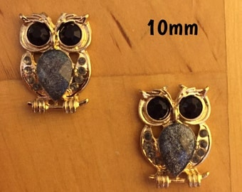 10mm sparkly owl plugs for stretched ears *kawaii*
