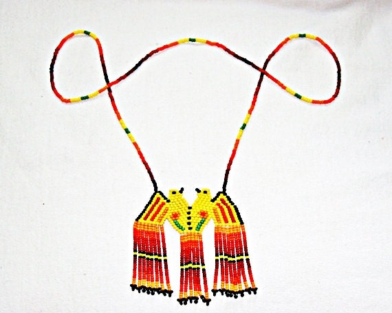 Native American Bird Necklace Huichol Jewelry Clarity Charm Strength Charm Beaded Necklace Huichol Beadwork Necklace SW Thunderbird Necklace