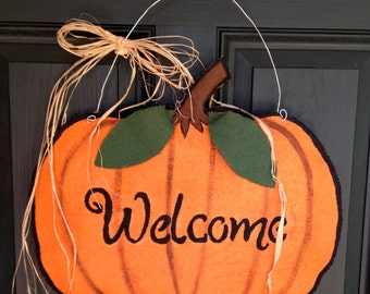 Pumpkin Burlap Door Hanger - Fall Door Hanger- Pumpkin Welcome Door Hanger