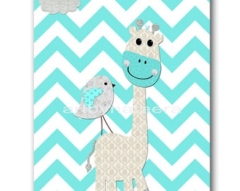 Giraffe Instant Download ART Digital Download Print Baby Boy Nursery Art Print Kid Room Decor Childrens Art Print 8X10 11X14 Torquoise Gray