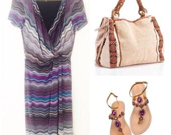 Purple Chevron Dress / Boho Hippie Chevron Dress / Woman Wrap Dress / Spandex Midi length Dress / Short sleeves Dress / Size 4 / MEDIUM