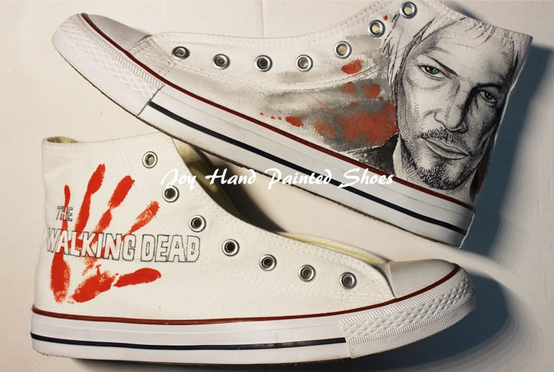the walking dead converse converse shoes painted by
