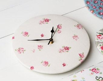 Handmade Round Circle Laura Ashley Floral Fabric Wall Mount Clocks