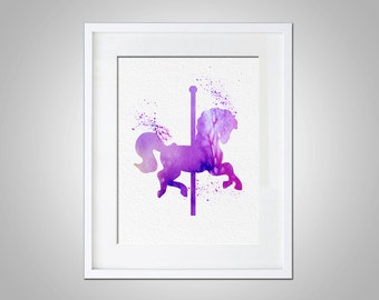 Watercolor Art Carousel Horse Modern 5x7 8x10 11x14 Wall Art Decor Illustration Wall Hanging Girls Nursery Pink Little Girls Room Carnival