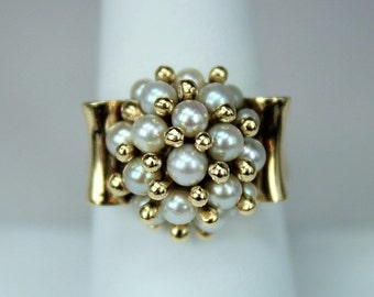 Vintage Estate Jewelry Hallmarked HF Ladies Ring Art Deco Era 14K Yellow Gold Big Raised Pearl Cluster Ring c1940s