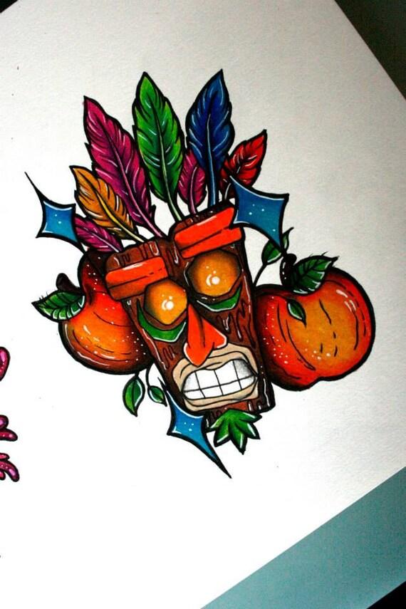Items similar to aku aku crash bandicoot print on etsy for Aku aku tattoo